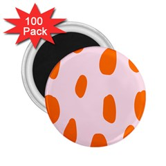 Polka Dot Orange Pink 2 25  Magnets (100 Pack)  by Jojostore