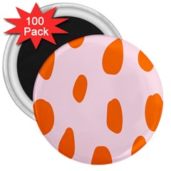 Polka Dot Orange Pink 3  Magnets (100 Pack) by Jojostore