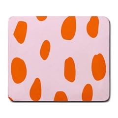 Polka Dot Orange Pink Large Mousepads by Jojostore