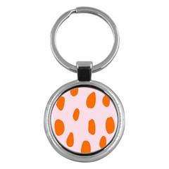 Polka Dot Orange Pink Key Chains (round)  by Jojostore