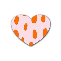 Polka Dot Orange Pink Rubber Coaster (heart)  by Jojostore