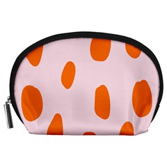 Polka Dot Orange Pink Accessory Pouches (large)  by Jojostore