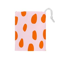 Polka Dot Orange Pink Drawstring Pouches (medium)  by Jojostore