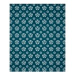 Teal and White Pentacle Pagan Wiccan Shower Curtain 60  x 72  (Medium)