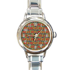 Typographic Graffiti Pattern Round Italian Charm Watch by dflcprints