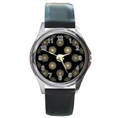Gray Balls On Black Background Round Metal Watch