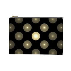 Gray Balls On Black Background Cosmetic Bag (large)