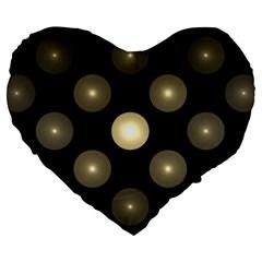 Gray Balls On Black Background Large 19  Premium Flano Heart Shape Cushions by Nexatart