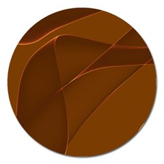 Brown Background Waves Abstract Brown Ribbon Swirling Shapes Magnet 5  (round) by Nexatart