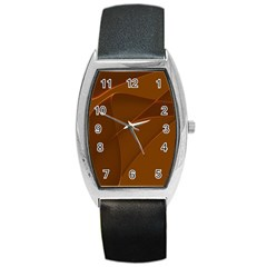 Brown Background Waves Abstract Brown Ribbon Swirling Shapes Barrel Style Metal Watch