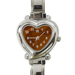 Brown Background Waves Abstract Brown Ribbon Swirling Shapes Heart Italian Charm Watch