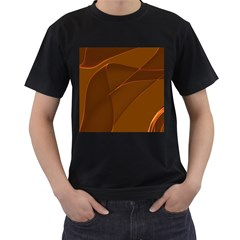 Brown Background Waves Abstract Brown Ribbon Swirling Shapes Men s T Shirt (black) (two Sided)