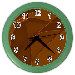 Brown Background Waves Abstract Brown Ribbon Swirling Shapes Color Wall Clocks by Nexatart