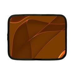 Brown Background Waves Abstract Brown Ribbon Swirling Shapes Netbook Case (small)  by Nexatart