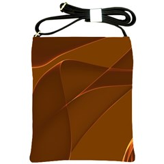 Brown Background Waves Abstract Brown Ribbon Swirling Shapes Shoulder Sling Bags by Nexatart