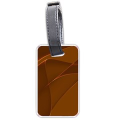 Brown Background Waves Abstract Brown Ribbon Swirling Shapes Luggage Tags (one Side)