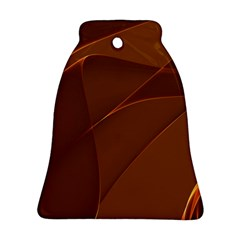 Brown Background Waves Abstract Brown Ribbon Swirling Shapes Ornament (bell)