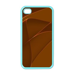 Brown Background Waves Abstract Brown Ribbon Swirling Shapes Apple Iphone 4 Case (color)