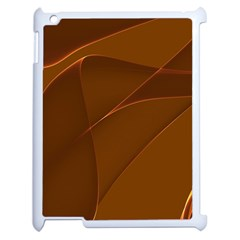 Brown Background Waves Abstract Brown Ribbon Swirling Shapes Apple Ipad 2 Case (white) by Nexatart