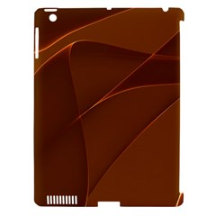 Brown Background Waves Abstract Brown Ribbon Swirling Shapes Apple Ipad 3/4 Hardshell Case (compatible With Smart Cover) by Nexatart