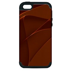 Brown Background Waves Abstract Brown Ribbon Swirling Shapes Apple Iphone 5 Hardshell Case (pc+silicone)