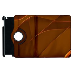 Brown Background Waves Abstract Brown Ribbon Swirling Shapes Apple Ipad 2 Flip 360 Case by Nexatart
