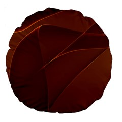 Brown Background Waves Abstract Brown Ribbon Swirling Shapes Large 18  Premium Round Cushions by Nexatart