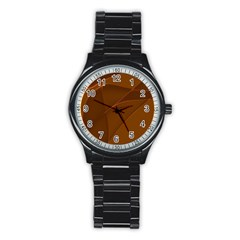 Brown Background Waves Abstract Brown Ribbon Swirling Shapes Stainless Steel Round Watch