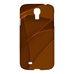 Brown Background Waves Abstract Brown Ribbon Swirling Shapes Samsung Galaxy S4 I9500/i9505 Hardshell Case
