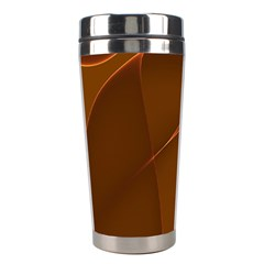 Brown Background Waves Abstract Brown Ribbon Swirling Shapes Stainless Steel Travel Tumblers