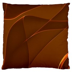 Brown Background Waves Abstract Brown Ribbon Swirling Shapes Large Flano Cushion Case (two Sides) by Nexatart