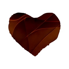 Brown Background Waves Abstract Brown Ribbon Swirling Shapes Standard 16  Premium Flano Heart Shape Cushions by Nexatart