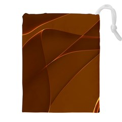 Brown Background Waves Abstract Brown Ribbon Swirling Shapes Drawstring Pouches (xxl) by Nexatart