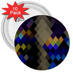 Background Of Blue Gold Brown Tan Purple Diamonds 3  Buttons (10 Pack)