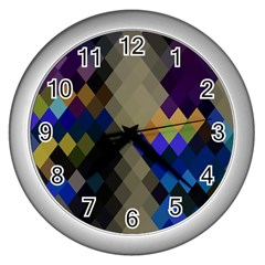 Background Of Blue Gold Brown Tan Purple Diamonds Wall Clocks (silver)  by Nexatart