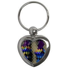 Background Of Blue Gold Brown Tan Purple Diamonds Key Chains (heart)  by Nexatart