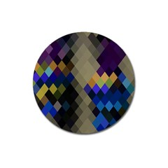 Background Of Blue Gold Brown Tan Purple Diamonds Magnet 3  (round) by Nexatart