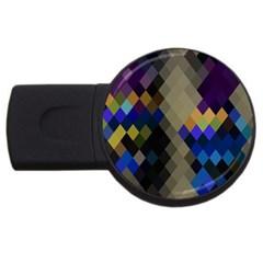 Background Of Blue Gold Brown Tan Purple Diamonds Usb Flash Drive Round (2 Gb)