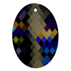 Background Of Blue Gold Brown Tan Purple Diamonds Oval Ornament (two Sides) by Nexatart