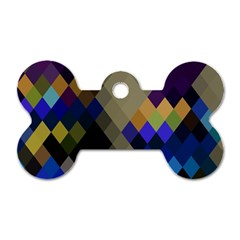 Background Of Blue Gold Brown Tan Purple Diamonds Dog Tag Bone (one Side) by Nexatart
