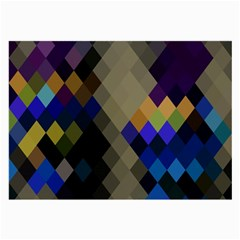 Background Of Blue Gold Brown Tan Purple Diamonds Large Glasses Cloth (2 Side)
