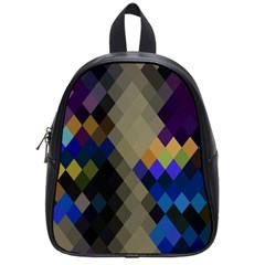Background Of Blue Gold Brown Tan Purple Diamonds School Bags (small)