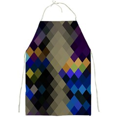 Background Of Blue Gold Brown Tan Purple Diamonds Full Print Aprons by Nexatart