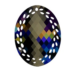 Background Of Blue Gold Brown Tan Purple Diamonds Ornament (oval Filigree) by Nexatart