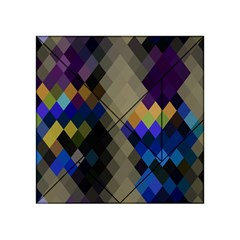 Background Of Blue Gold Brown Tan Purple Diamonds Acrylic Tangram Puzzle (4  X 4 )
