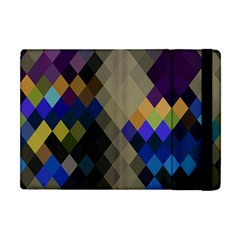 Background Of Blue Gold Brown Tan Purple Diamonds Apple Ipad Mini Flip Case by Nexatart