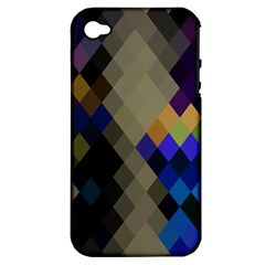 Background Of Blue Gold Brown Tan Purple Diamonds Apple Iphone 4/4s Hardshell Case (pc+silicone)