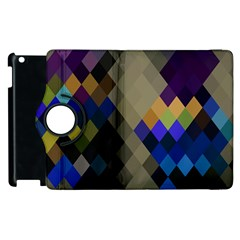 Background Of Blue Gold Brown Tan Purple Diamonds Apple Ipad 2 Flip 360 Case by Nexatart