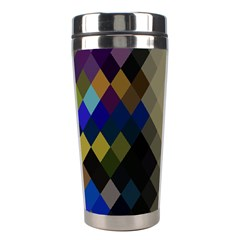Background Of Blue Gold Brown Tan Purple Diamonds Stainless Steel Travel Tumblers by Nexatart