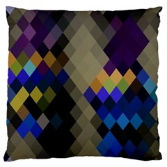 Background Of Blue Gold Brown Tan Purple Diamonds Large Flano Cushion Case (two Sides) by Nexatart